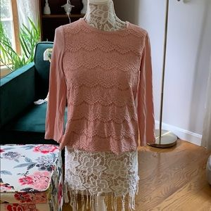 J. Crew lace pink 3/4 sleeve shirt